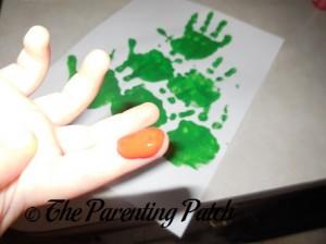 Red Paint on Toddler Finger
