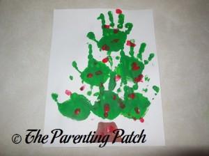 Finishing the Christmas Tree Handprint Craft