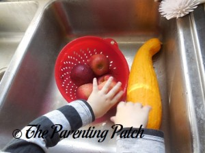 Washing the Apples and Yellow Squash