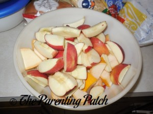 Raw Slices of Apples and Yellow Squash