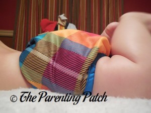 Side of Preppy Rumparooz One-Size Cloth Diaper Cover at 17 Pounds 2