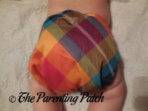 Back of Preppy Rumparooz One-Size Cloth Diaper Cover at 17 Pounds