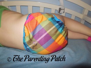 Back of Preppy Rumparooz One-Size Cloth Diaper Cover at 30 Pounds