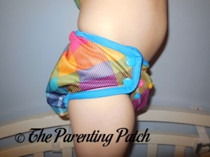 Side of Preppy Rumparooz One-Size Cloth Diaper Cover at 30 Pounds 2