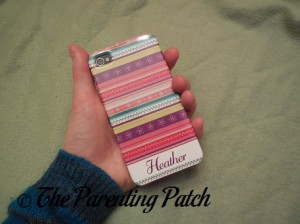 Holding My iPhone MyCustomCase.com Ribbon Roll Pink iPhone 4 Case