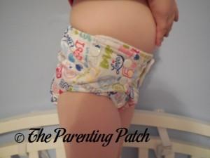 Side of Royal Fluff One-Size Pocket Diaper on Preschooler 2