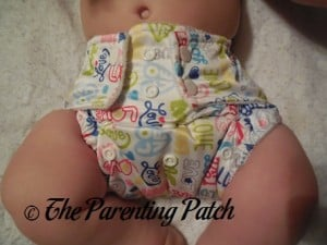 Front of Royal Fluff One-Size Pocket Diaper on Infant © 2015 Heather Johnson