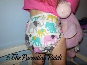 Back of the Custom Made Zookaboo Diaper Cover on a Toddler