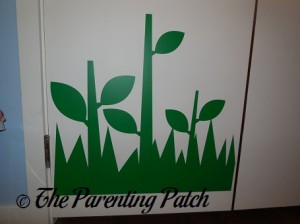 Green Leaf, Stem, and Grass Decals on Wall 1