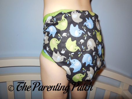 Back of Blueberry Coverall Diaper Cover on Toddler