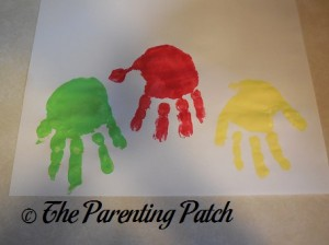 Light Green, Red, and Yellow Handprints