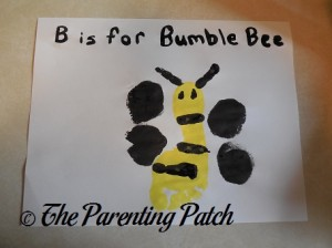 Finished B Is for Bumblebee Footprint Craft 1