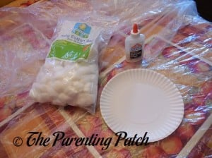 Cotton Balls, Glue, and Paper Plate