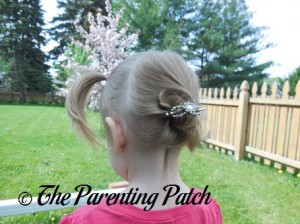 Poppy Wearing the Divinely Framed Jewel Flexi Hair Clip 2