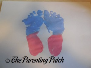 Blue and Pink Footprints