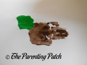 Brown Handprint with Green Palm Print