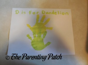 Finished D Is for Dandelion Handprint Craft