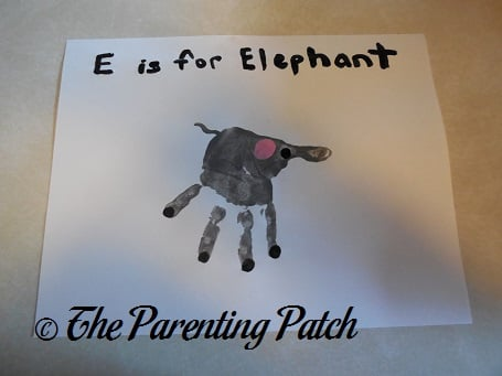 E Is for Elephant Handprint Craft