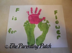 Finished F Is for Flower Handprint and Footprint Craft