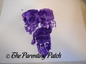 Three Stacked Purple Handprints