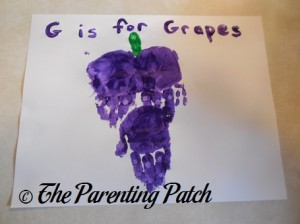 Completed G Is for Grapes Handprint Craft