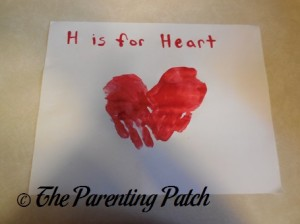 Completed H Is for Heart Handprint Craft
