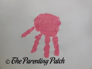 One Pink Handprint Without Thumb