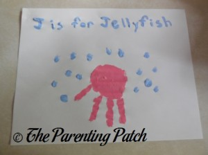Finished J Is for Jellyfish Handprint Craft
