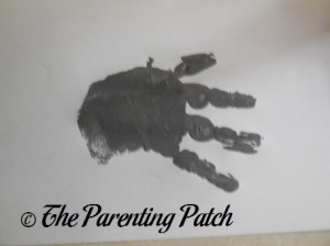 One Gray Handprint Without Thumb