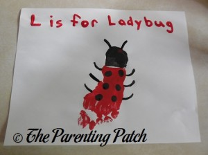 Finished L Is for Ladybug Footprint Craft
