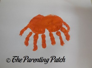 Two Orange Handprints Without Thumb