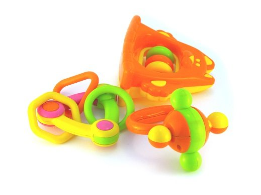 Orange, Green, and Yellow Plastic Baby Toys