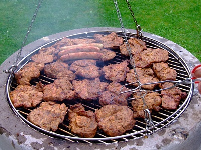 Meat Cooking on a Grill