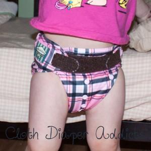 Pink Plaid Mini Kiwi Pocket Diaper 3