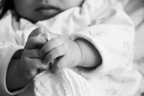 Baby Hands in Black and White