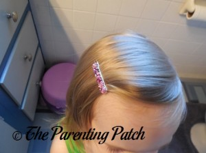 Poppy Wearing the Menucha Jewelry Pink Crystal Hair Clip 3