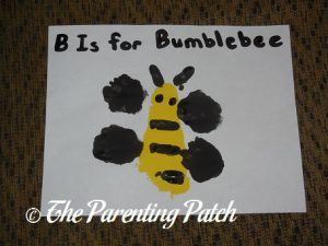 Finished B Is for Bumblebee Footprint Craft 2
