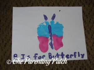 Finished B Is for Butterfly Footprint Craft