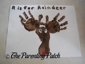 Finished R Is for Reindeer Handprint-Footprint Craft