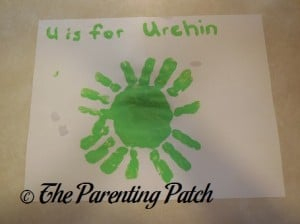 Finished U Is for Urchin Handprint Craft