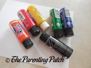 Orange, Red, Yellow, Green, Blue, and Black Acrylic Paint