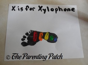 Finished X Is for Xylophone Footprint Craft