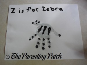 Z Is for Zebra Handprint Craft