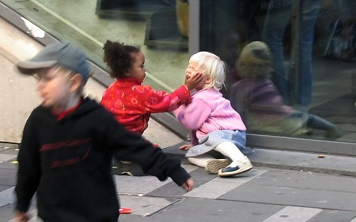Toddler Girl Hitting Another Toddler Girl
