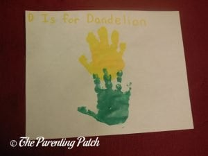 Completed D Is for Dandelion Handprint Craft