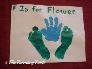 Completed F Is for Flower Handprint and Footprint Craft