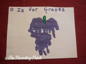 Finished G Is for Grapes Handprint Craft