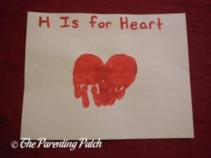 Finished H Is for Heart Handprint Craft