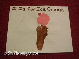 Finished I Is for Ice Cream Footprint Craft