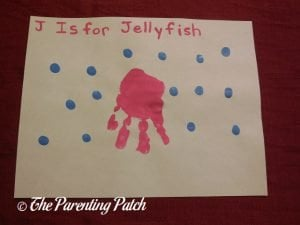 Completed J Is for Jellyfish Handprint Craft